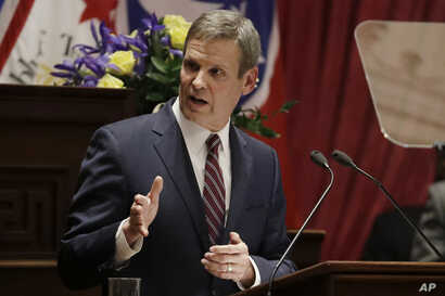 Tennessee Gov. Bill Lee delivers his State of the State Address in the House Chamber, Monday, Feb. 3, 2020, in Nashville, Tenn…