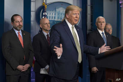 President Donald Trump speaks during a press briefing with the coronavirus task force, at the White House, Tuesday, March 17,…