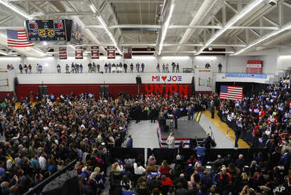 Democratic presidential candidate former Vice President Joe Biden speaks during a campaign rally at Renaissance High School in…