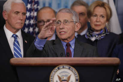 Dr. Anthony Fauci, director of the National Institute of Allergy and Infectious Diseases speaks in the briefing room of the…
