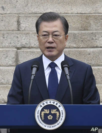 South Korean President Moon Jae-in speaks during a ceremony to mark the 101th anniversary of the March First Independence…