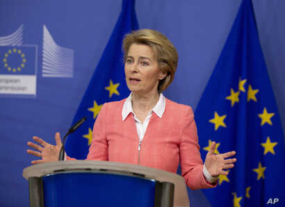 European Commission President Ursula von der Leyen speaks during a media conference after the weekly College of Commissioners…