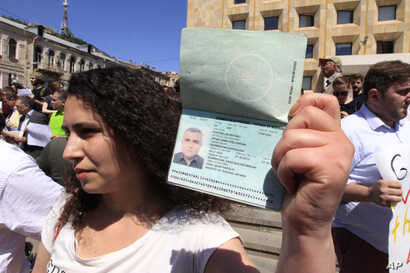Leyla Mustafayeva, wife of an Azerbaijani journalist Afgan Mukhtarli, who was abducted in Tbilisi on May 29 and now is in…