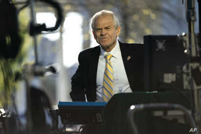 White House trade adviser Peter Navarro speaks during an interview at the White House, Monday, April 6, 2020, in Washington. …