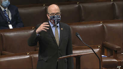 In this image from video, Rep. Jim McGovern, D-Mass., speaks on the floor of the House of Representatives at the U.S. Capitol…
