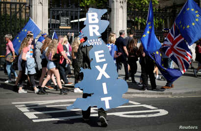 FILE: A pro-Brexit supporter is seen outside Parliament in London.