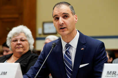 "George Selim, Senior Vice President of programs for the Anti-Defamation League, testifies during a hearing of the Civil Rights and Civil Liberties Subcommittee on ""Confronting White Supremacy (Part I): The Consequences of Inaction"" on Capitol Hill in Washington, U.S., May 15, 2019.      REUTERS/Joshua Roberts"