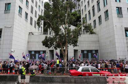 Protestors demonstrate in front of the British Consulate-General in Hong Kong, China September 1, 2019. REUTERS/Danish Siddiqui