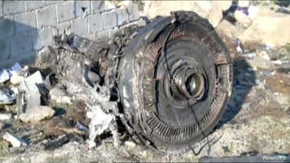 One of the engines of Ukraine International Airlines flight PS752, a Boeing 737-800 plane that crashed after taking off from…