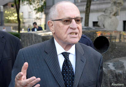 FILE PHOTO: Alan Dershowitz arrives at the Manhattan Federal Court in New York, U.S., September 24, 2019. REUTERS/Jefferson…