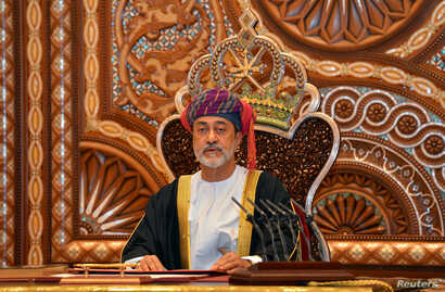 FILE PHOTO: Sultan Haitham bin Tariq al-Said gives a speech after being sworn in before the royal family council in Muscat,…