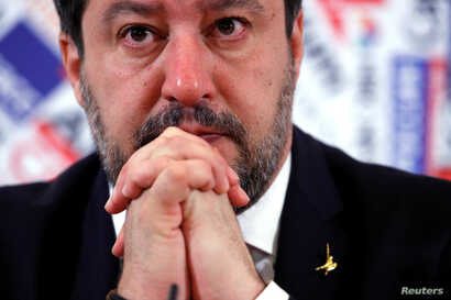 Leader of Italy's far-right party Matteo Salvini gestures during a news conference a day after the Senate voted to remove his…