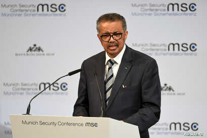 Director-General of the World Health Organization (WHO) Tedros Adhanom Ghebreyesus speaks at the annual Munich Security…