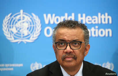 Director-General of the WHO Tedros Adhanom Ghebreyesus, attends a news conference on the coronavirus (COVID-2019) in Geneva,…