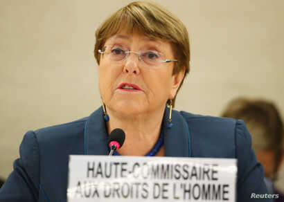 United Nations High Commissioner for Human Rights Michelle Bachelet attends a session of the Human Rights Council at the United…