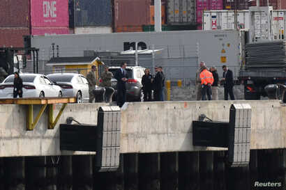 Governor Gavin Newsom inspects the location at the Port of Oakland, where the Grand Princess cruise ship carrying passengers…