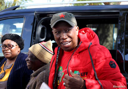Julius Malema, leader of South Africa's the opposition Economic Freedom Fighters Party (EFF) party arrives to cast his ballot…