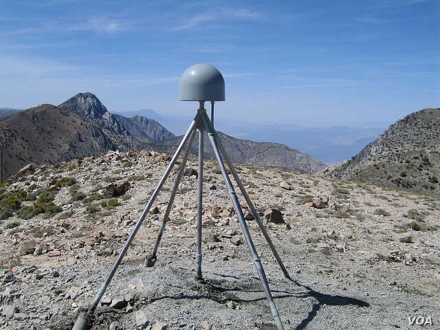 A GPS station is seen in the Inyo Mountains of California. (Shawn Lawrence, UNAVCO)