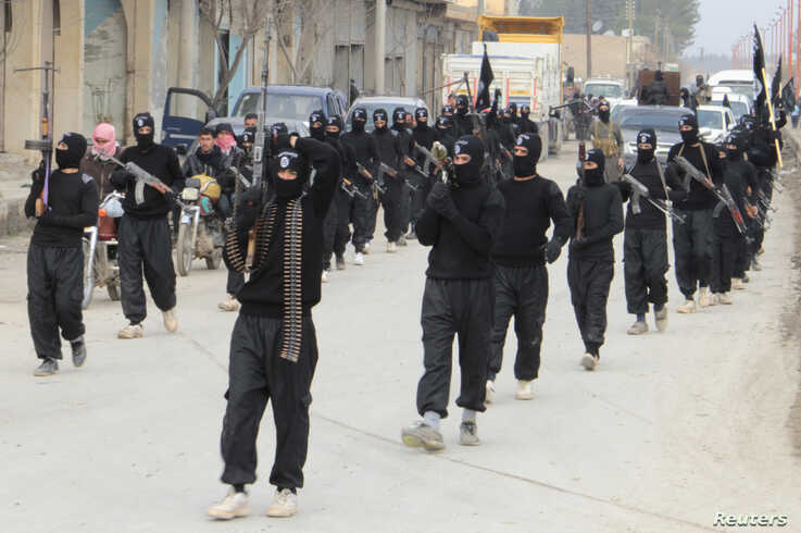 Fighters of al-Qaida-linked Islamic State of Iraq and the Levant carry their weapons during a parade at the Syrian town of Tel Abyad, near the border with Turkey, Jan. 2, 2014.