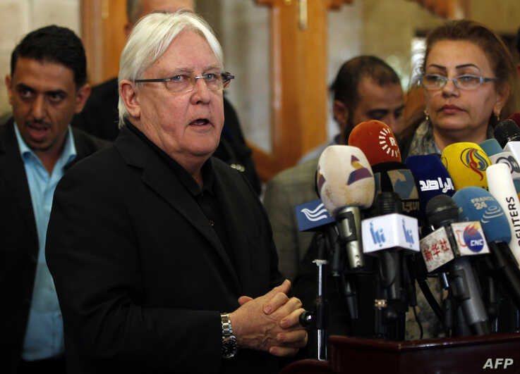 The United Nations Special Envoy to Yemen Martin Griffiths speaks to the press upon his arrival at Sanaa international airport in Yemen,  March 24, 2018.