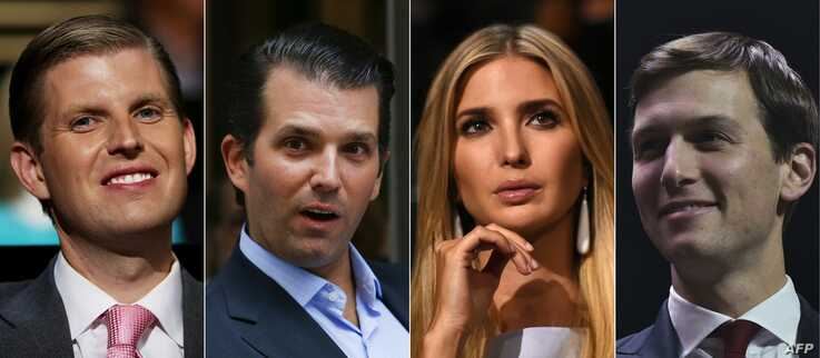 This combination of pictures created on Nov. 11, 2016 shows (From L to R) recent portraits President-elect children Eric Trump, Donald Trump Jr, Ivanka Trump and her husband Jared Kushner.