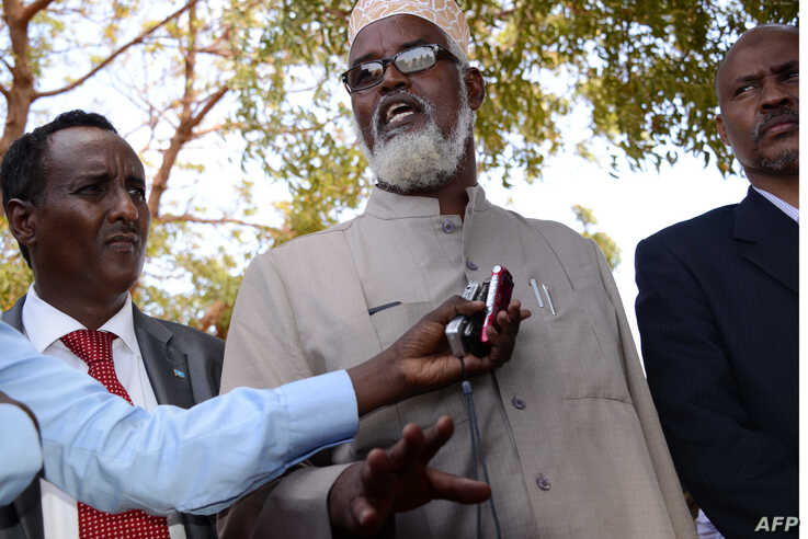 Ahmed Mohamed Madobe, leader of the Ras Kamboni militia, speaks during a meeting for the creation of a State of Jubaland in Kismayo, Somalia, Feb. 28, 2013.