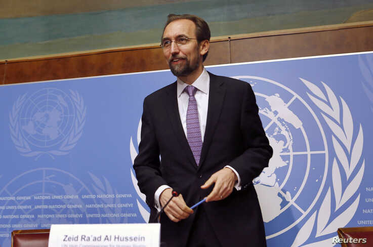 FILE - Jordan's Prince Zeid Ra'ad Zeid al-Hussein, U.N. High Commissioner for Human Rights, gestures after a news conference at the United Nations European headquarters in Geneva, October 2014.