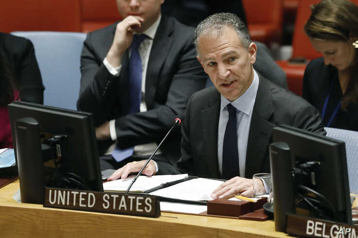 Acting Permanent Representative of the United States Jonathan Cohen addresses the United Nations Security Council, at U.N. headquarters, Jan. 22, 2019.