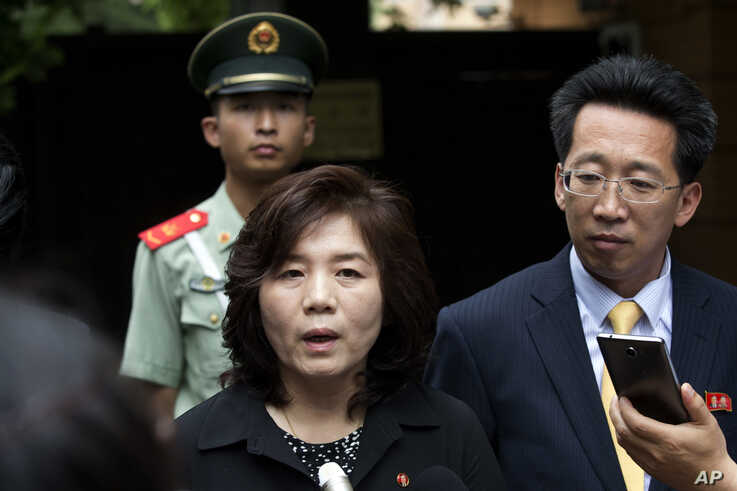 FILE - Choe Son Hui, deputy director general of the Department of US Affairs of North Korea Foreign Ministry, briefs journalists outside the North Korean embassy in Beijing, China, June 23, 2016.