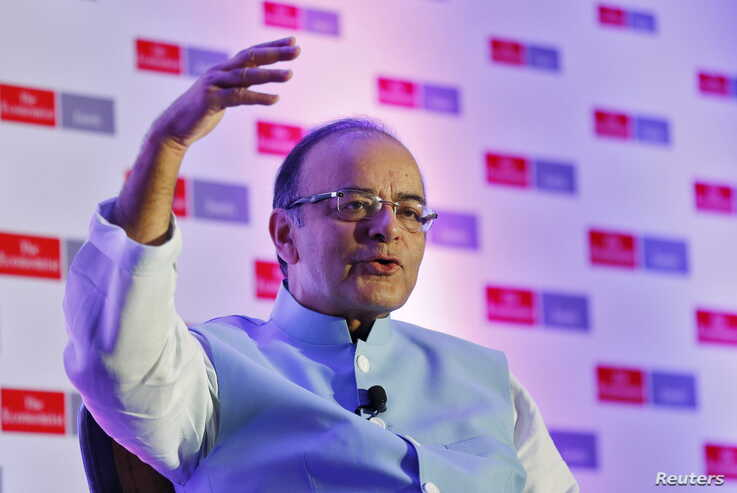 India's Finance Minister Arun Jaitley speaks at an Economist conference in New Delhi, India, Sept. 9, 2015.