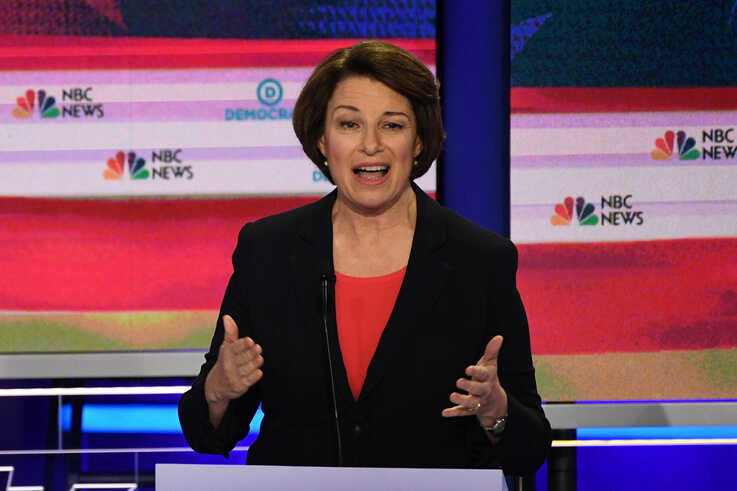 Democratic presidential hopeful U.S. Senator from Minnesota Amy Klobuchar speaks during the first Democratic primary debate of the 2020 presidential campaign at the Adrienne Arsht Center for the Performing Arts in Miami, June 26, 2019.