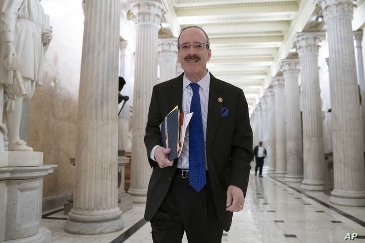 House Foreign Affairs Committee Chair Eliot Engel, D-N.Y., walks through the Hall of Columns at the Capitol as House Democratic chairs gather for a meeting with Majority Leader Steny Hoyer, D-Md., in Washington, March 27, 2019.
