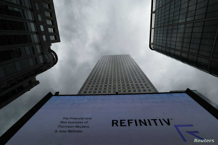 An advertisement for Refinitiv is seen on a screen in London's Canary Wharf financial centre, London, Britain, Oct. 2, 2018.