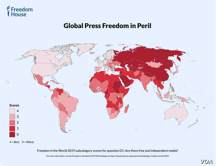 Map - Global press freedom in peril.