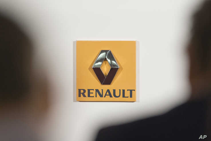 FILE - The logo of French car maker Renault seen at a press conference in Paris, France, Feb. 12, 2015.