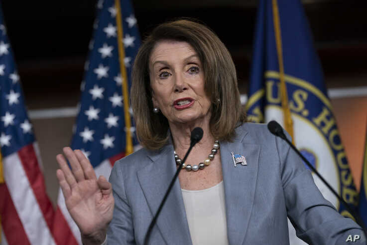 Speaker of the House Nancy Pelosi, D-Calif., meets with reporters at a news conference on Capitol Hill in Washington, May 9, 2019.