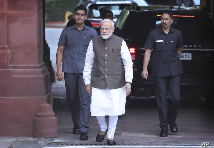 Indian Prime Minister Narendra Modi arrives at first session of parliament in New Delhi, India.