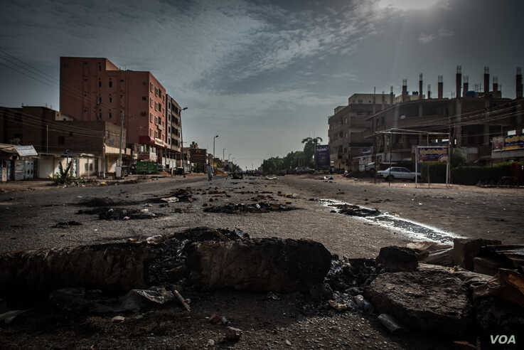 Roadblocks set up by protesters are seen in the Burri neighborhood to protest the June 2 massacre of at least 60 civilians, in Khartoum, Sudan, June 4, 2019.