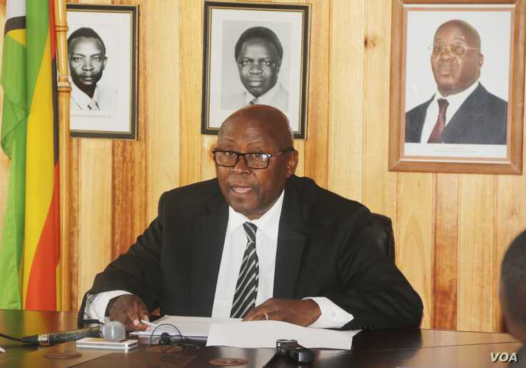 Cain Mathema, Zimbabwe's minister of home affairs, is pictured in early June 2019 in Harare. (C. Mavhunga/VOA)