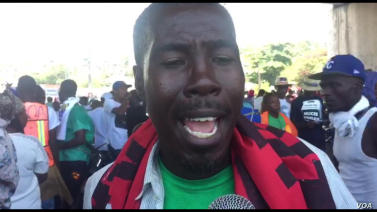 A member of the Citizens Revolt grassroots group says the people left their homes Sunday to make it clear they don't want a thief as their president.