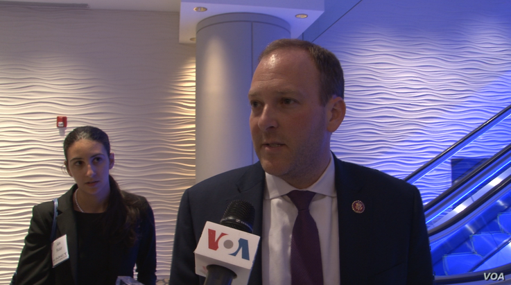U.S. Republican Congressman Lee Zeldin speaks to VOA Persian as he departs the Endowment for Middle East Truth's annual dinner i