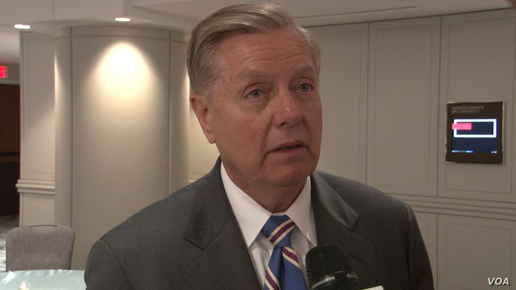 U.S. Republican Senator Lindsey Graham speaks to VOA Persian after addressing a June 12, 2019 gathering of the Endowment for Mid