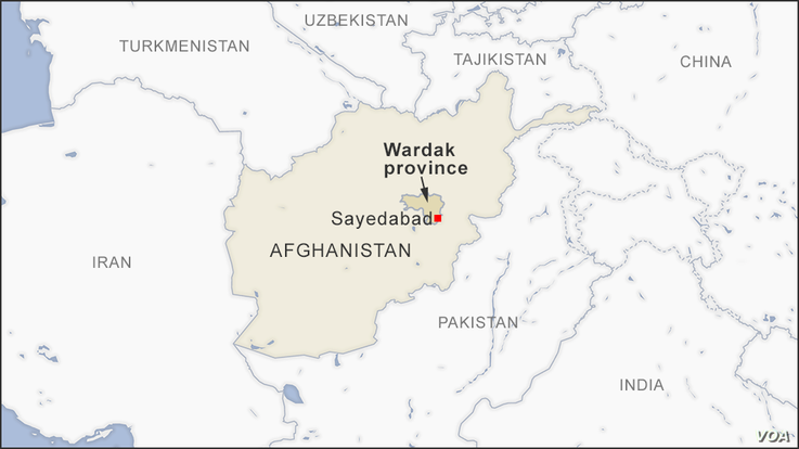 Map of Sayedabad, in Wardak province, Afghanistan