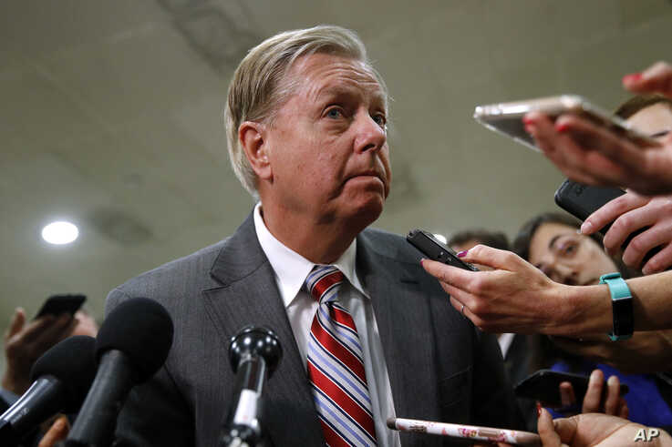 Sen. Lindsey Graham, speaks to reporters after a briefing on Capitol Hill in Washington, May 21, 2019.