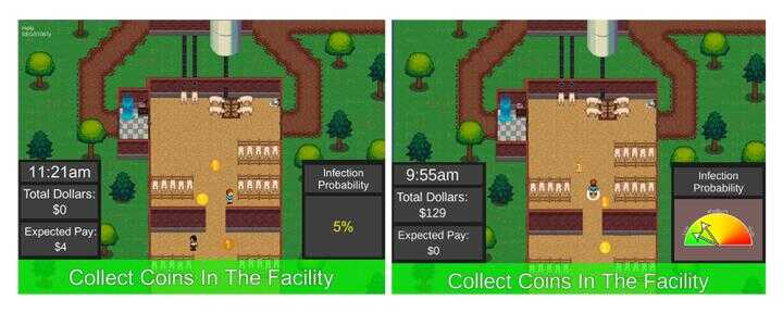 Images from biosecurity video games show two risk scenarios. Players were more likely to comply with biosecurity practices when risk was presented graphically, right, rather than numerically, left. (UVM Social Ecological and Simulation Lab)