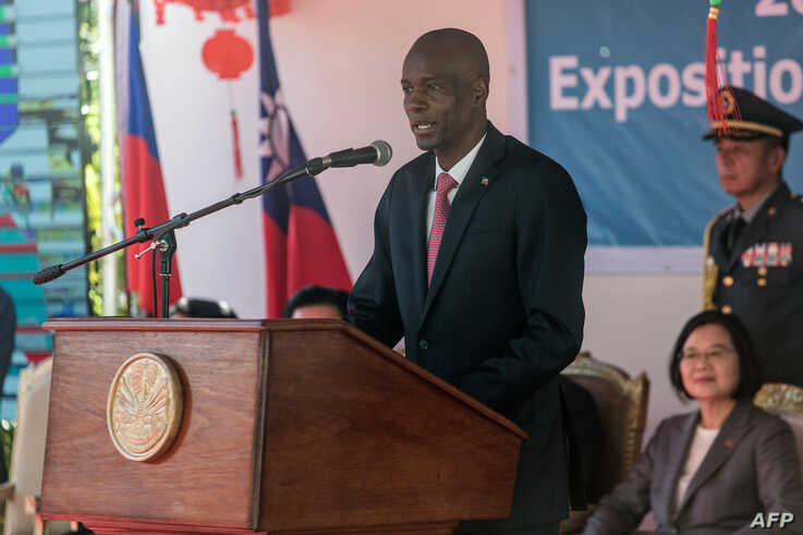 FILE - Haiti's President Jovenel Moise delivers a speech during the inauguration of the Taiwan Fair in Port-au-Prince, July 13, 2019.