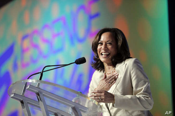 Democratic presidential candidate, Sen. Kamala Harris, D-Calif., speaks at the 25th Essence Festival in New Orleans, July 6, 2019.