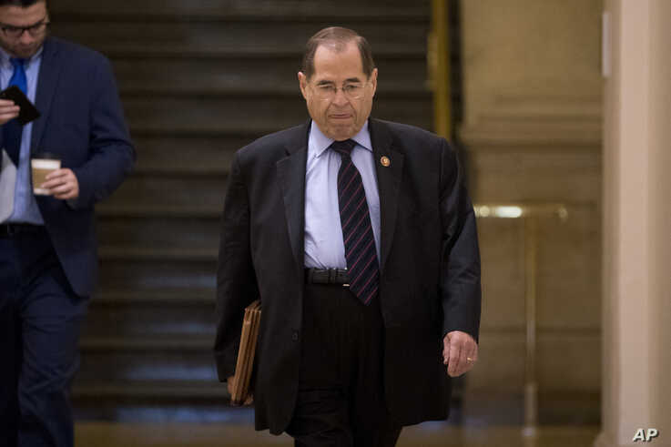 Judiciary Committee Chairman Jerrold Nadler, D-N.Y., arrives for a House Democratic caucus meeting on Capitol Hill in Washington, July 10, 2019.
