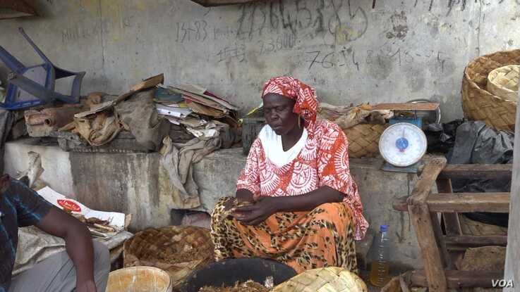 Aminta Seck dries and cures fish in a cramped space since rising sea levels have pushed her work inland (Photo: E. Sarai/VOA)