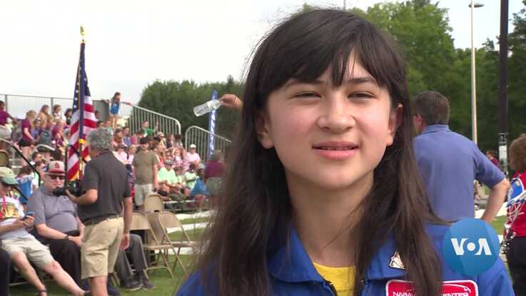 12-year-old Lillian Duran had the distinct honor of pressing the bottle rocket launch button